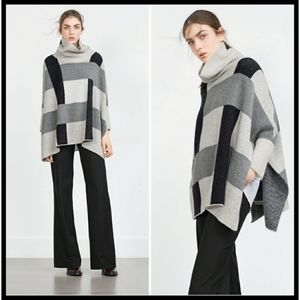 ZARA Knit Colorblock Cowl Cape Sweater Poncho M